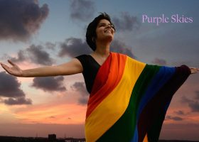 A still from the film Purple Skies