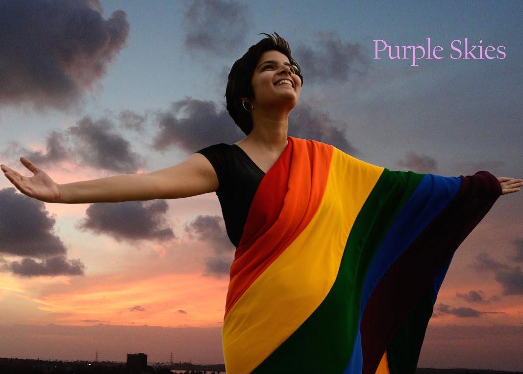A still from the film Purple Skies