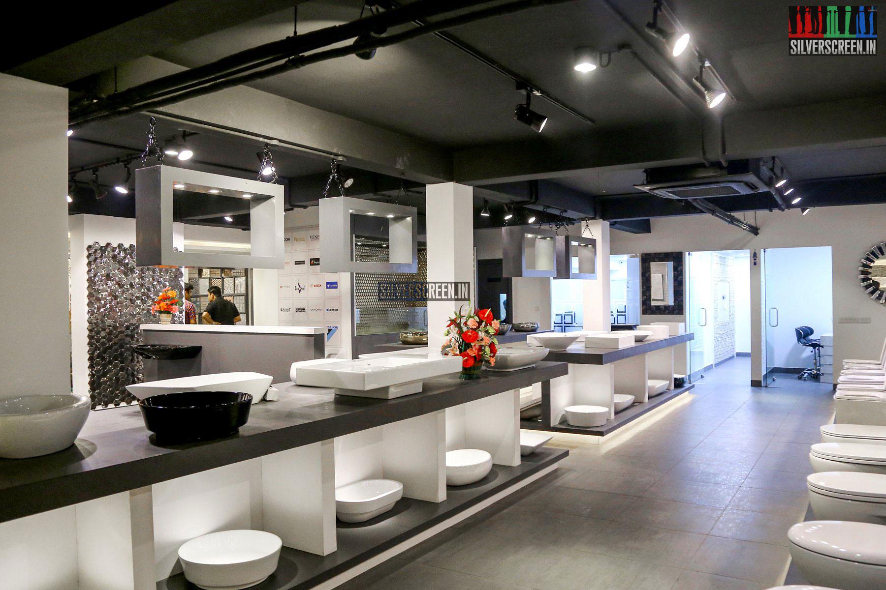 Launch of aarav designer tiles sanitarywares showroom for Modern showroom exterior design