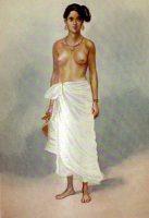A Nair lady wearing mundu, painting by Rao Bahadur M. V. Dhurandhar (1928)