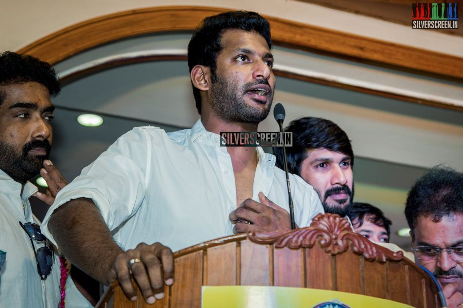 Vishal and Team - Nadigar Sangam Election Meeting Photos