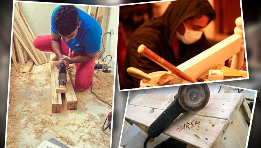 Harshavardhan Rane Working on Carpentry Samples
