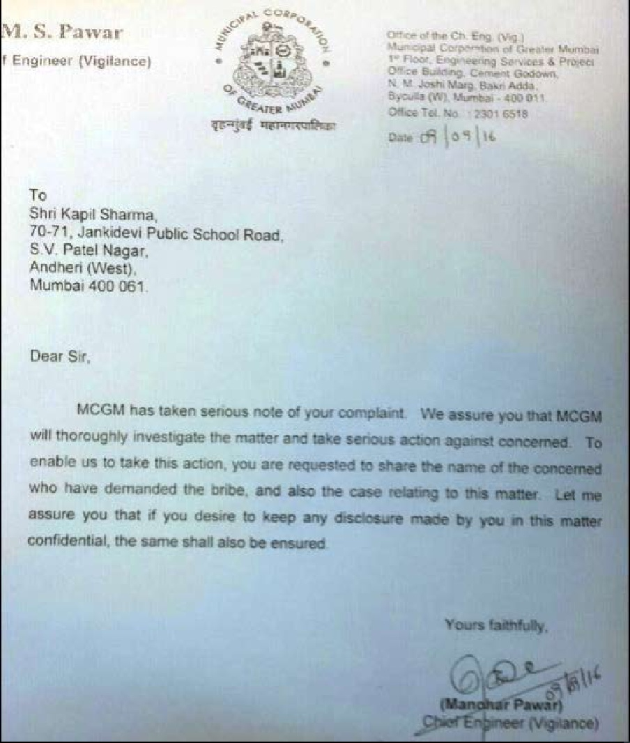 BMC's notice to Sharma Courtesy: NDTV.com