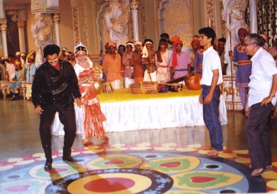 Singeetham with Balakrishna, during the shooting of Aditya 369