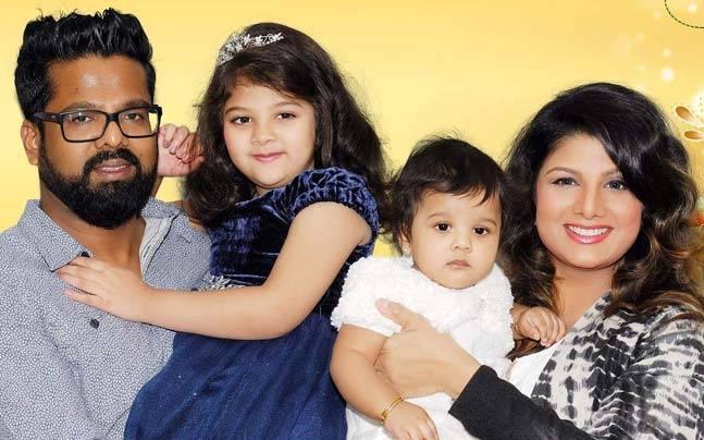 Actress Rambha with husband Indiran and daughters