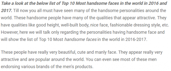 An excerpt of a poll to discover the most handsome face. Hrithik Roshan was voted third.