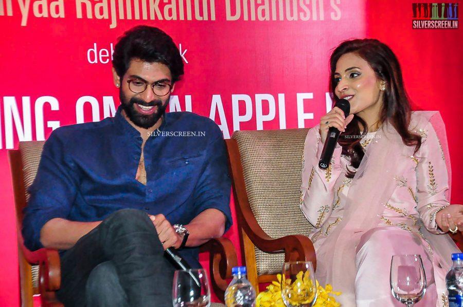 Rana at the Aishwarya Dhanush's 'Standing on an Apple Box' Book Launch