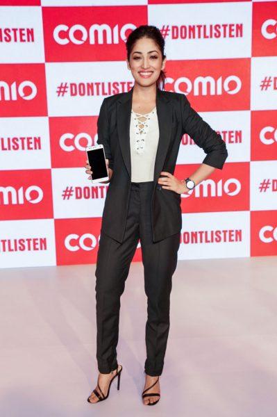 New Delhi: Actress Yami Gautam at the launch of Comio smartphone