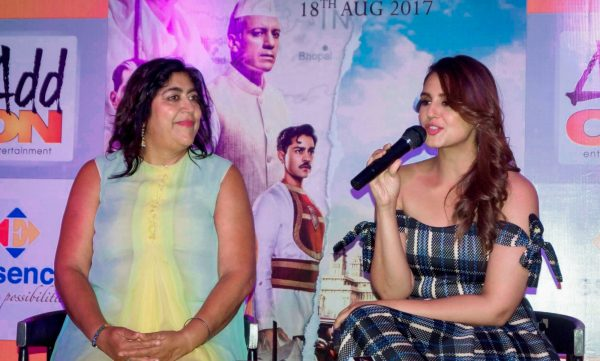 "New Delhi: Actress Huma Qureshi and filmmaker Gurinder Chadha during a press conference organised to promote her upcoming film ""Viceroy's House"" in New Delhi, on Aug 11, 2017. (Photo: Amlan Paliwal/IANS)"