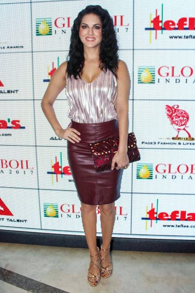 "Mumbai: Actress Sunny Leone during the ""Globoil India Awards 201"