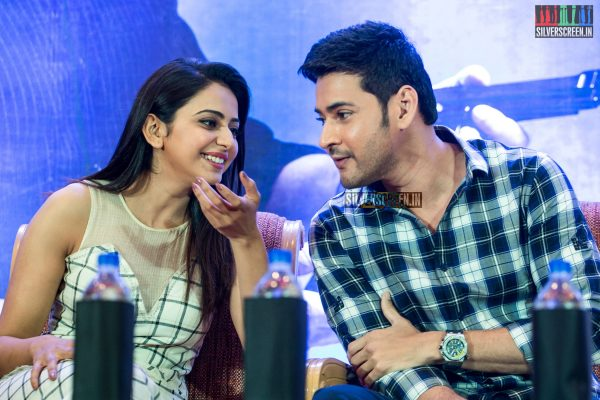 The 'Spyder' press meet held earlier this week at Loyola was a star-studded event. Mahesh Babu, all praises for Rakul Preet Singh, said that even as Santosh Sivan and AR Murugadoss struggled while shooting the bilingual, Rakul, who knew neither Tamil nor Telugu, coped quite well. Pic: Dani Charles
