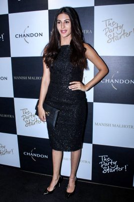 Mumbai: Actress Amyra Dastur during the launch of Manish Malhotra X Chandon Champagne bottles Limited Edition End Of Year 2017 in Mumbai on Oct 9, 2017.(Photo: IANS)