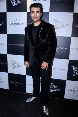 Mumbai: Director Karan Johar during the launch of Manish Malhotra X Chandon Champagne bottles Limited Edition End Of Year 2017 in Mumbai on Oct 9, 2017.(Photo: IANS)
