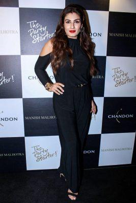 Mumbai: Actress Raveena Tandon during the launch of Manish Malhotra X Chandon Champagne bottles Limited Edition End Of Year 2017 in Mumbai on Oct 9, 2017.(Photo: IANS)