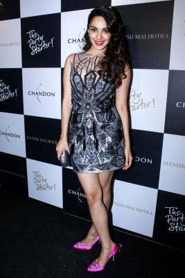 Mumbai: Actress Kiara Advani during the launch of Manish Malhotra X Chandon Champagne bottles Limited Edition End Of Year 2017 in Mumbai on Oct 9, 2017.(Photo: IANS)
