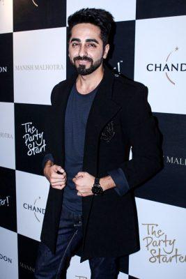 Mumbai: Actor Ayushmann Khurrana during the launch of Manish Malhotra X Chandon Champagne bottles Limited Edition End Of Year 2017 in Mumbai on Oct 9, 2017.(Photo: IANS)