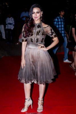 Mumbai: Actress Sana Khan at the red carpet of Halloween Party in Mumbai on Oct 27, 2017 .(Photo: IANS)