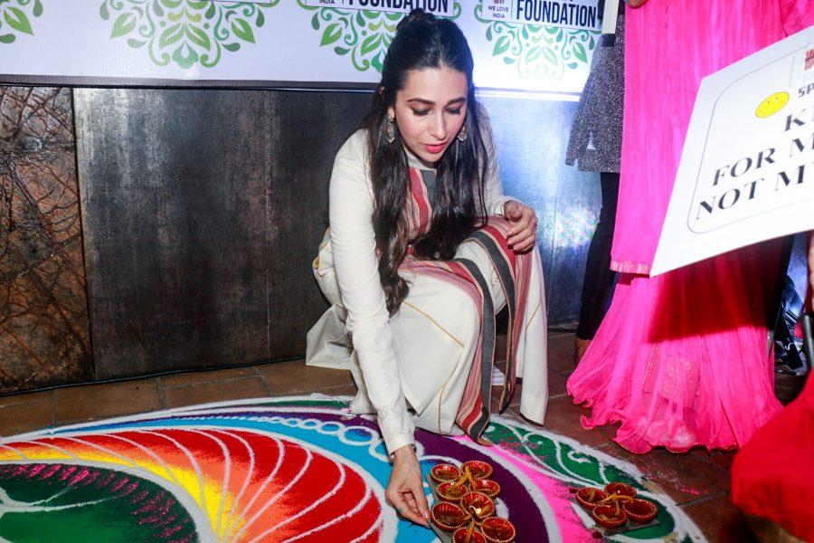 Mumbai: Actress Karisma Kapoor celebrates Diwali Milan With Disable Children in Mumbai on Oct 27, 2017.(Photo: IANS)