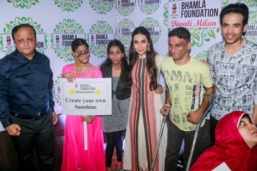 Mumbai: Actors Karisma Kapoor and Tusshar Kapoor celebrates Diwali Milan With Disable Children in Mumbai on Oct 27, 2017.(Photo: IANS)