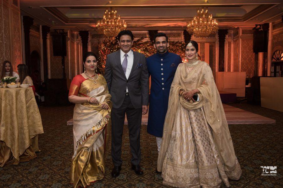 Anil Kumble and his wife at the wedding reception of Sagarika Ghatge and Zaheer Khan