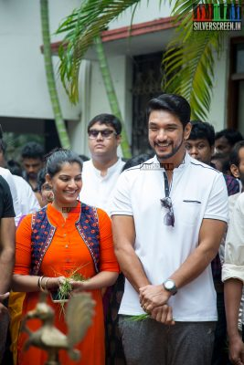 Gautham Karthik and Varalaxmi Sarathkumar at the Mr. Chandramouli Movie Launch