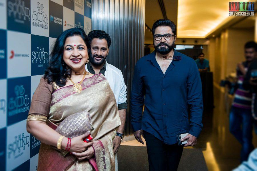 R Sarathkumar and Radhika at Oru Kadhai Sollattumaa Audio Launch