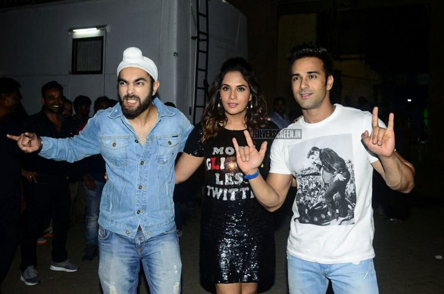 Richa Chadda was seen in a sequin House of Eda dress during the promotions of Fukrey Returns at the Mehboob Studios in Mumbai.