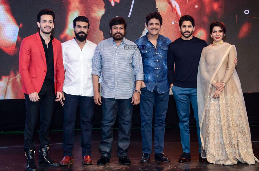 Akhil, Nagarjuna, Chiranjeevi, Ram Charan, Samantha and Naga Chaitanya At The Hello Pre-Release Event