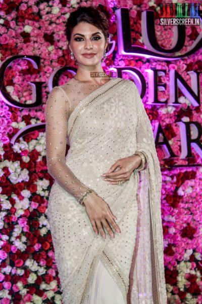 Jacqueline Fernandez in a Tarun Tahiliani sari at the Lux Golden Rose Awards 2017