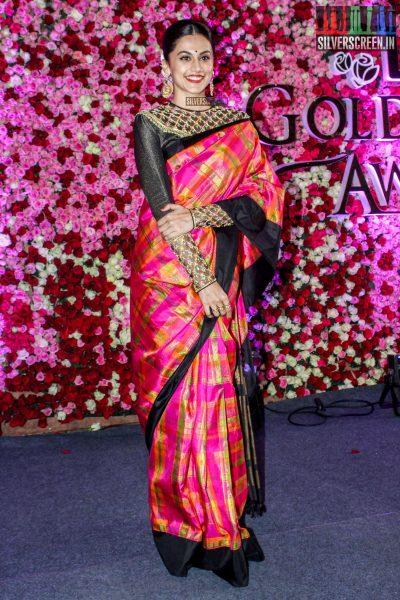 Taapsee Pannu in a Neeta Lulla sari at the Lux Golden Rose Awards 2017