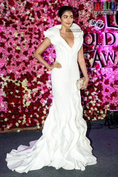 Pooja Hegde in a Tony Ward gown at the Lux Golden Rose Awards 2017