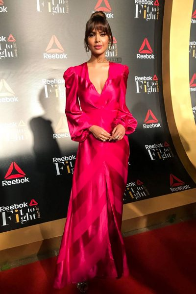 Esha Gupta in a Sachin and Babi gown at the Reebok Fit To Fight Awards.