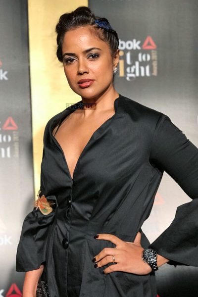Sameera Reddy in a Nishka Lulla pant suit at the Reebok Fit To Fight Awards.