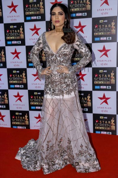 Bhumi Pednekar in a sequin gown by Manish Malhotra from his Lakme Fashion Week collection.