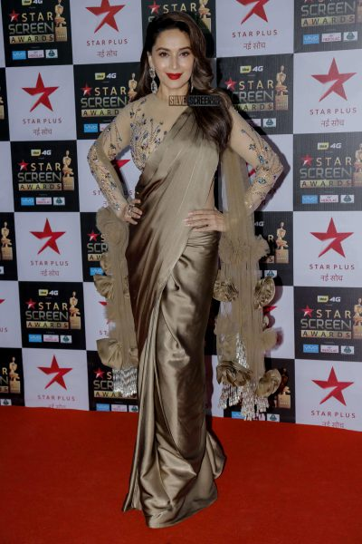 Madhuri Dixit in a Manish Malhotra outfit at the Awards.