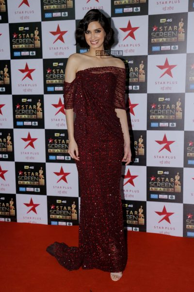 Diana Penty in an off-shoulder Falguni and Shane Peacock crystal gown at the Star Screen Awards.