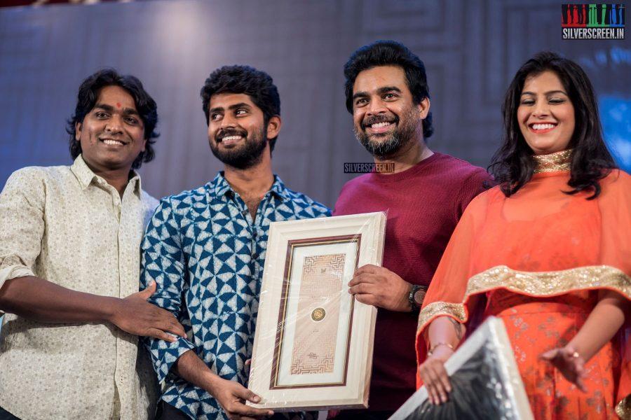 Vijay Sethupathi, R Madhavan, Kathir and Varalaxmi At The 100th Day Celebration of Vikram Vedha