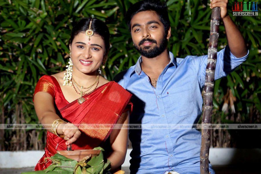 GV Prakash Kumar and Shalini Pandey Celebrates Pongal On The Sets Of 100% Kadhal Movie Launch