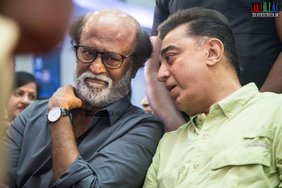 Rajinikanth and Kamal Haasan at The Kizhakku Appricavil Raju Movie Launch
