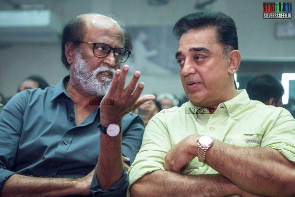 Rajinikanth and Kamal Haasan at The Kizhakku Appricavil Raju Movie Launch