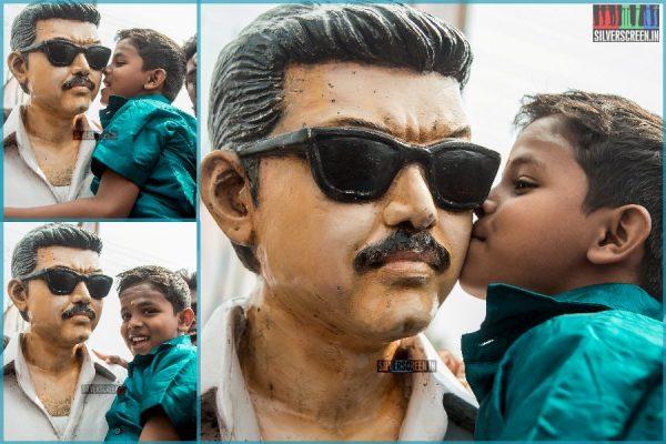 Vijay Fans Celebrate Mersal's 100 Days Outside Rohini Silver Screens In Chennai