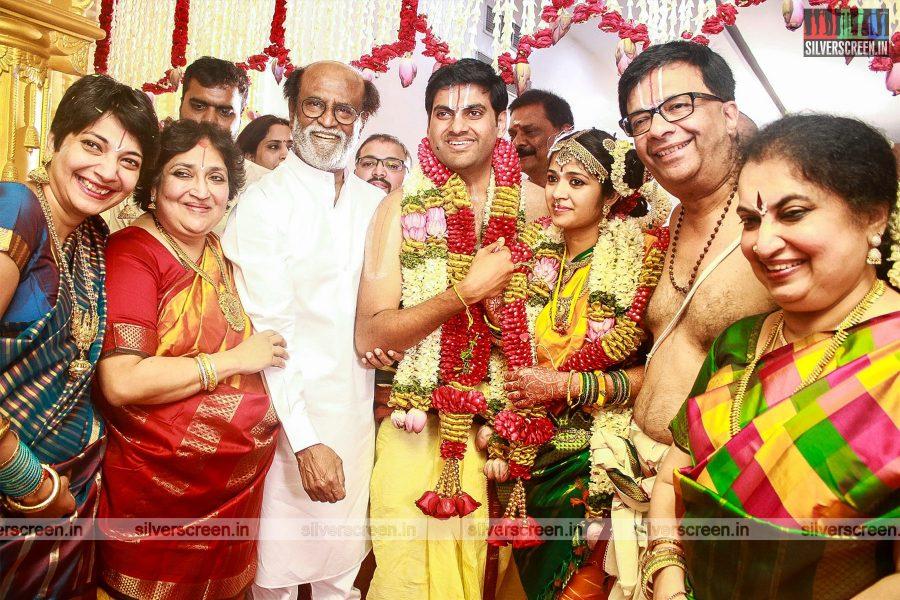 Rajinikanth At The YG Mahendran's Son Harshavardhana-Shwetha's Wedding
