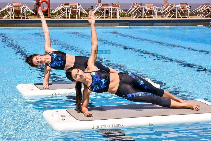 Rhea Chakraborty & Tanishaa Mukerji At The Speedo Aquaphysical Event