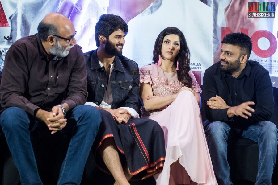 Mehreen Pirzada, Sathyaraj And Vijay Devarakonda At The NOTA Press Meet