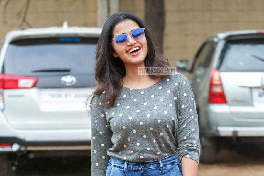 Anupama Parameshwaran During The Shooting Of Her Film With Sai Dharam Tej