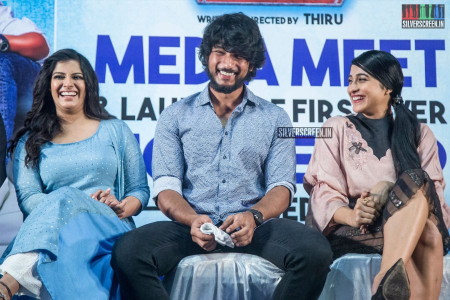 Gautham Karthik, Regina Cassandra, Varalaxmi At The Mr. Chandramouli Press Meet
