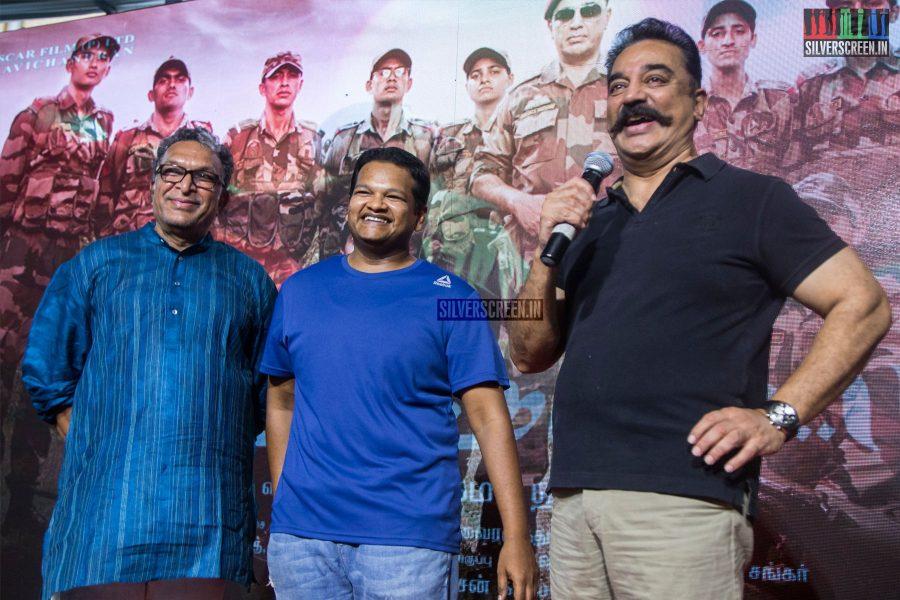 Kamal Haasan, Nasser & M Ghibran At The Vishwaroopam 2 Trailer Launch