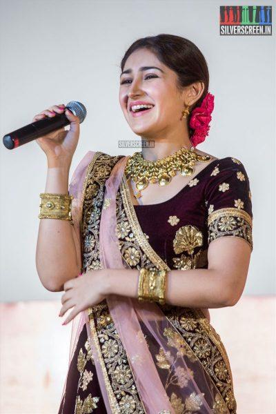 Sayesha Saigal At The Kadaikutty Singam Audio Launch