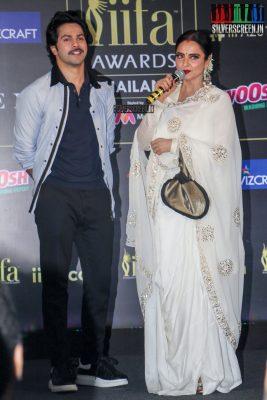 Rekha & Varun Dhawan At The IIFA Press Meet