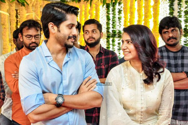 Naga Chaitanya And Samantha Akkineni At A Movie Launch